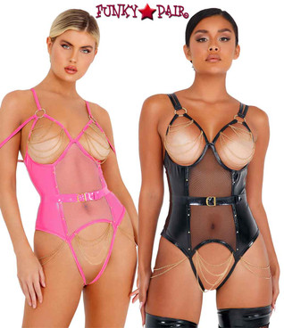 Roma | LI436, Vinyl Bodysuit with Chain Detail