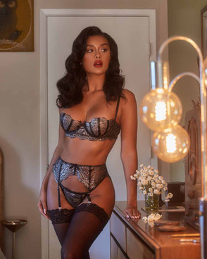 Roma LI404, Metallic Silver Bra and Garter Set