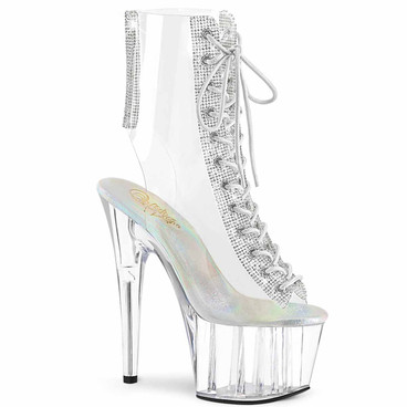 """Adore-1016C-2, 7"""" Clear Ankle Lace-up Ankle Boots by Pleaser"""