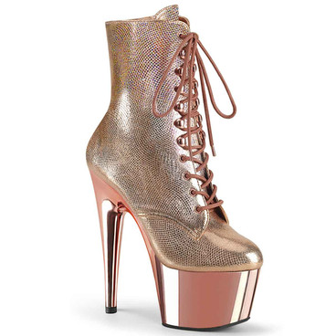 """Adore-1020RG, 7"""" Rose Gold Textured Metallic Lace-up Ankle Boots By Pleaser"""