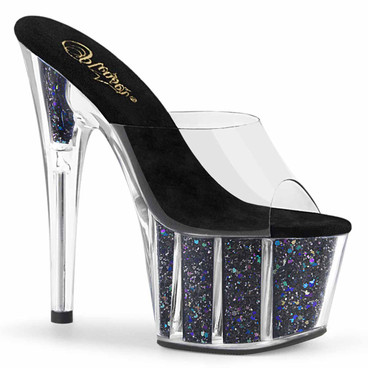 "Adore-701CG, 7"" Black Platform Slide with Glitter Insert by Pleaser"