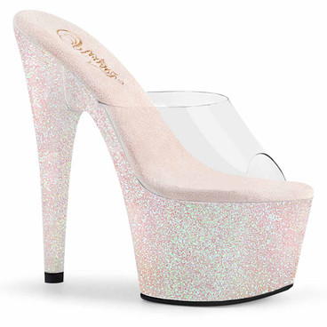 "Adore-701HMG, 7"" Holographic Mini Glitter Platform Slide by Pleaser"