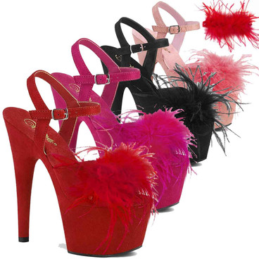 "Adore-709F, 7"" Removable Marabou Feather on Vamp Ankle Strap Sandal by Pleaser USA"