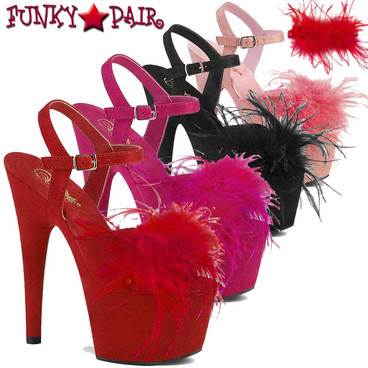 "Pleaser | Adore-709F, 7"" Removable Marabou Feather on Vamp Ankle Strap Sandal"