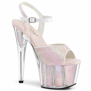 "Adore-710G, 7"" Ankle Strap Glitter Platform Sandal by Pleaser"