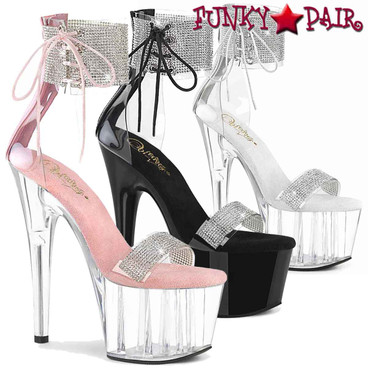 "Pleaser | Adore-727RS, 7"" Rhinestones Ankle Cuff and Front Strap Platform Sandal"
