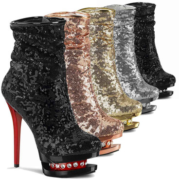 Blondie-R-1009, Ruched Sequin Ankle Boots by Pleaser USA