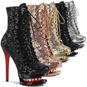 """Blondie-R-1020SQ, 6"""" Sequins Lace-up Ankle Boots with Rhinestones in Mid Platform by Pleaser USA"""