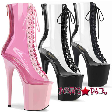 "Pleaser | Flamingo-800-34, 8"" Clear Lace-up Peep Toe Boots with Contrast Trim"
