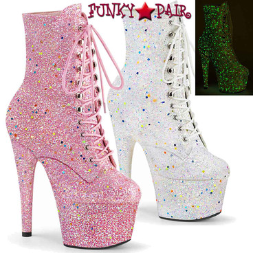 """Pleaser   Adore-1020GDLG, 7"""" Ankle Boots with Backlight Reactive Light Glitters"""