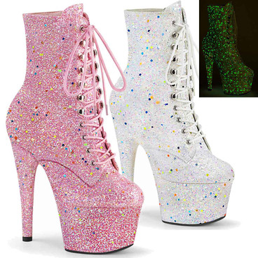 "Adore-1020GDLG, 7"" Ankle Boots with Backlight Reactive Light Glitters by Pleaser"