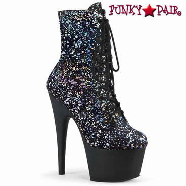 Pleaser | Adore-1020SPLAT, Ankle Boots with Holographic Splatter Print