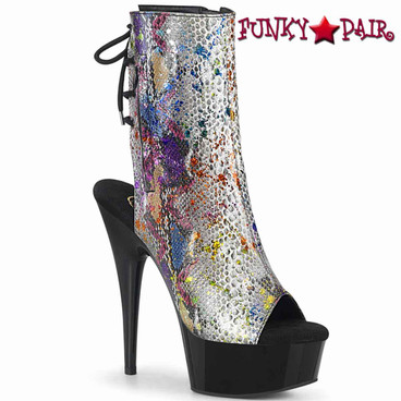 "Pleaser | Delight-1018SP, 6"" Open Toe/Heel Ankle Boots with Snake Print"