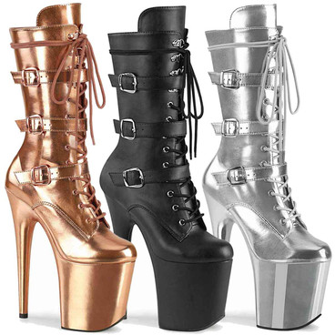 "Flamingo-1053, 8"" Lace-up Mid Calf Boots with Triple Buckles by Pleaser"