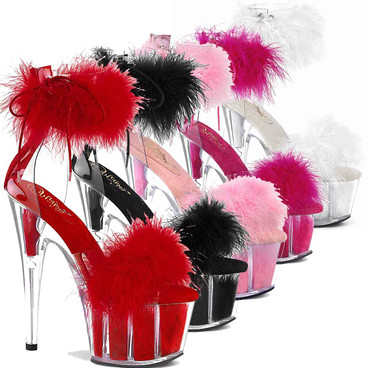"Adore-724F, 7"" Marabou Fur Ankle Cuff Platform Sandal by Pleaser USA"