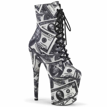 Flamingo-1020DP, 8 Inch Ankle Boots with Dollar Print by Pleaser