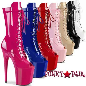 "Pleaser | Flamingo-1051, 8"" Peep Toe Mid Calf Lace-up Boots"
