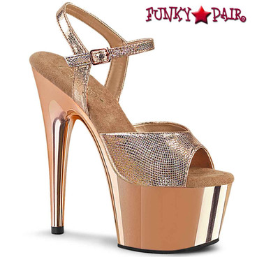 "Pleaser | Adore-709RG, 7"" Ankle Strap Sandal with Rose Gold Plated Platform"
