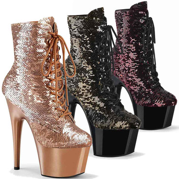 "Pleaser | Adore-1020SQ, 7"" Flip Sequins Ankle Boots"