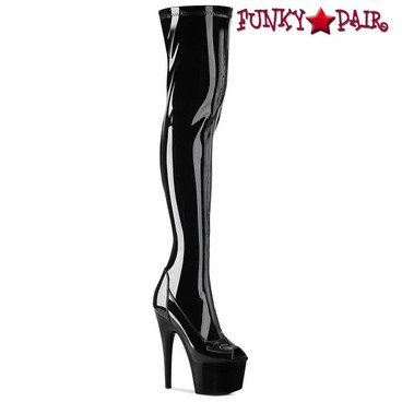 Pleaser | Adore-3011, Peep-Toe Stretch Thigh High Boots