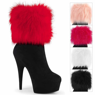 Delight-1000, Ankle Boots with Interchangeable Fur Ankle Cuffs by Pleaser USA