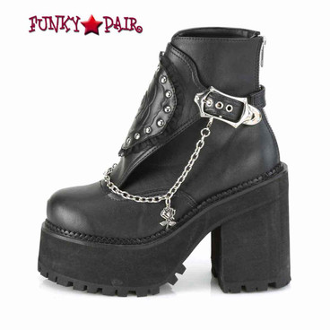 Demonia | Assault-55, Platform Ankle Boots with Hanging Chain