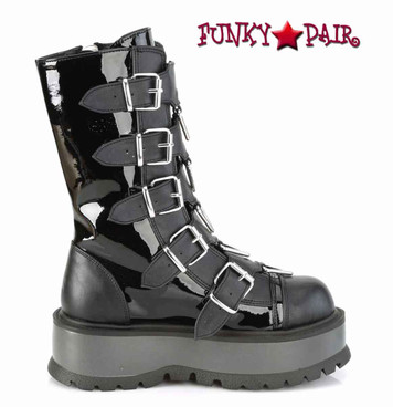 Demonia | Slacker-160, Mid-Calf Boots with Metal Buckles Straps