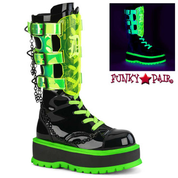 Demonia | Slacker-156, Mid-Calf Boots with Blacklight Reactive Shield