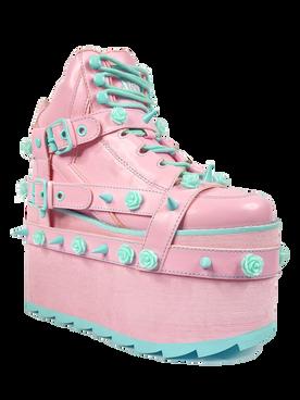 YRU | QOZMO BONDAGE ROSE, 4 Inch Wedge Platform with Rose and Spike Detail Shoes