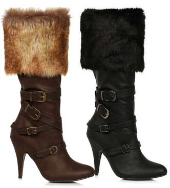 418-GRETA, 4 Inch Boots with Faux Fur Cuff By Ellie Shoes