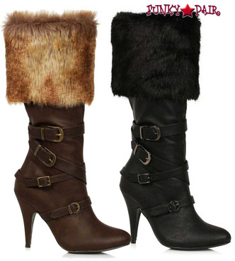 Ellie Boots | 418-GRETA, 4 Inch Boots with Faux Fur Cuff