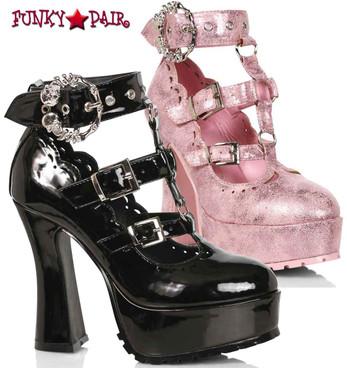 "Ellie Shoes | 557-DAPHNE, 5"" Chunky Heel T-Strap Maryjane"