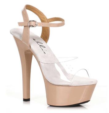 601-Idol, Nude Platform Ankle Strap Sandal By Ellie Shoes