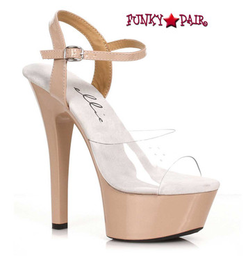 Ellie Shoes | 601-Idol, Nude Platform Ankle Strap Sandal