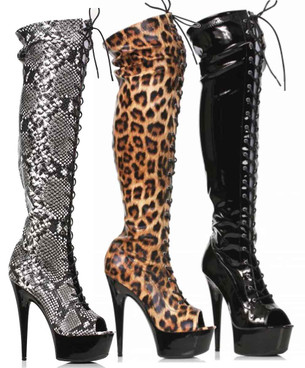 """609-Zoelle, 6"""" Peep Toe Thigh High Boots By Ellie Shoes"""