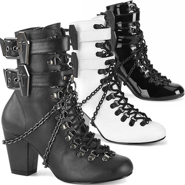 VIVIKA-128, 3 Inch Block Heel Lace-up Boots by Demonia