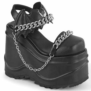 WAVE-20, Closed Toe Wedge Sandal with Chain Details by Demonia