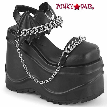 Demonia | WAVE-20, Closed Toe Wedge Sandal with Chain Details