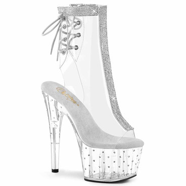 Pleaser | Stardust-1018C-2RS, Clear Lace-up Ankle Boots with Rhinestones
