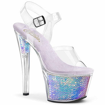 """SKY-308MC, 7"""" Ankle Strap with Holographic Mermaid Scales by Pleaser USA"""