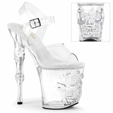 """RAPTURE-808, 8"""" Clear Platform with Skull and Bones Accent by Pleaser"""