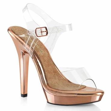 "LIP-108RG, 5"" Ankle Strap Sandal with Rose Gold Platform by Pleaser USA"