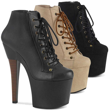 """RADIANT-1005, 7"""" Ankle Platform Boots by Pleaser"""