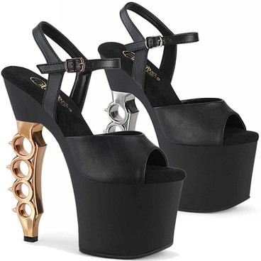 """IRONGRIP-709, 7"""" Chrome Bass Knuckles Heel Ankle Strap Sandal by Pleaser"""