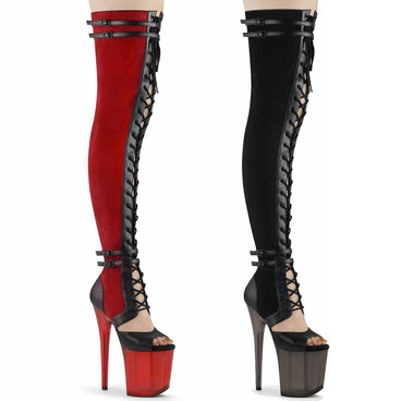 FLAMING0-3027, Lace-up Sandal Style Suede Thigh High Boots by Pleaser