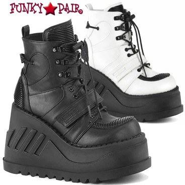 Demonia | STOMP-13, 4.75 Inch Wedge Lace-up Ankle Boots