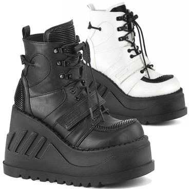 STOMP-13, 4.75 Inch Wedge Lace-up Ankle Boots by Demonia