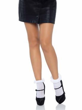 LA-3061, Zig Zag Crochet White Anklet Socks By Leg Avenue