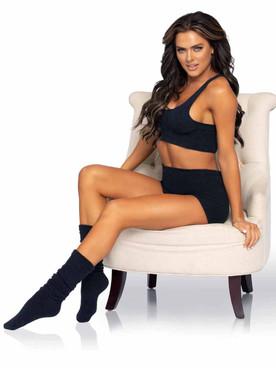 Leg Avenue | LA81624, Black Cozy Knit Matching Se