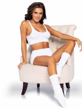 LA81624, Cozy White Knit Matching Set  By Leg Avenue
